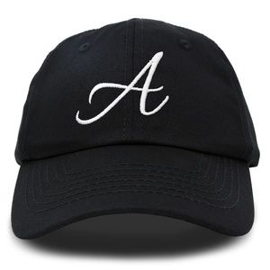 A Initial Hat Embroidered Cap in Black (Cursive)
